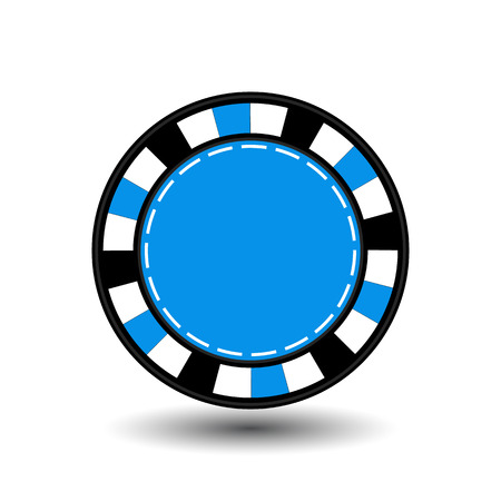 chips for poker blue in the middle a round and white dotted line the line.
