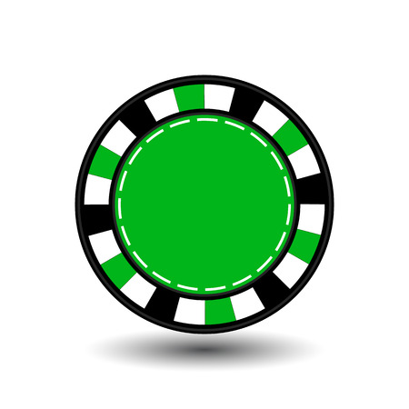 coordinated: chips for poker green in the middle a round and white dotted line the line.