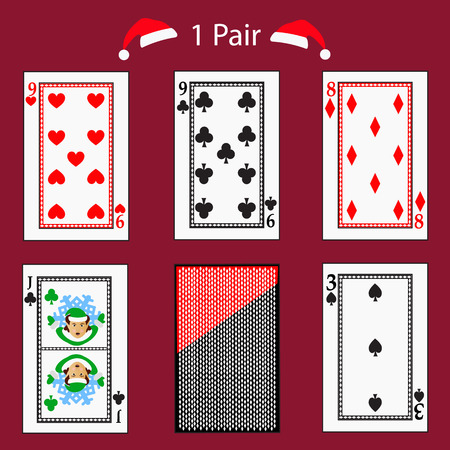 1 one pair playing card poker combination. Illustration