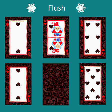 incubus: fiush playing card poker combination. Illustration