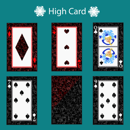 high card Poker hand ranking combinations. Illustration