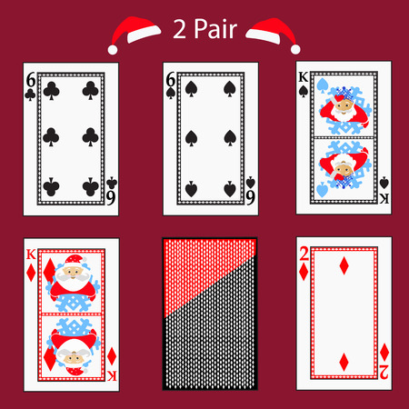 straight flush: 2 two pair playing card poker combination.