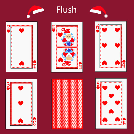 fiend: fiush playing card poker combination. Stock Photo