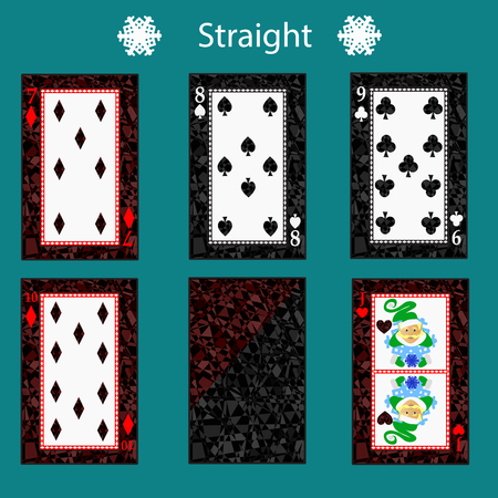 straight playing card poker combination. Stock Photo