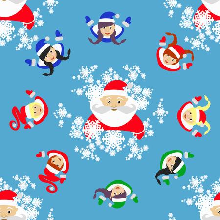 santa helper: seamless pattern. New Years Christmas holiday. Illustration