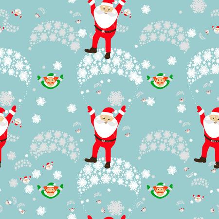 santa helper: Christmas theme Santa and Elf on a parachute Illustration