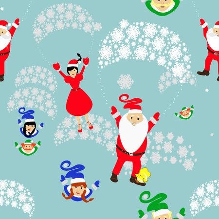 Christmas theme. Father Frost and Miss Santa Claus girl Santa Claus and an elf on a parachute.