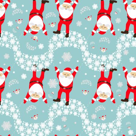 Christmas theme. Santa Claus on a parachute flying across the sky upside down.
