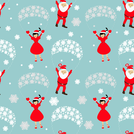 mrs  santa claus: Christmas theme. Santa Claus on a parachute flying across the sky with Mrs. Santa Claus hands up.