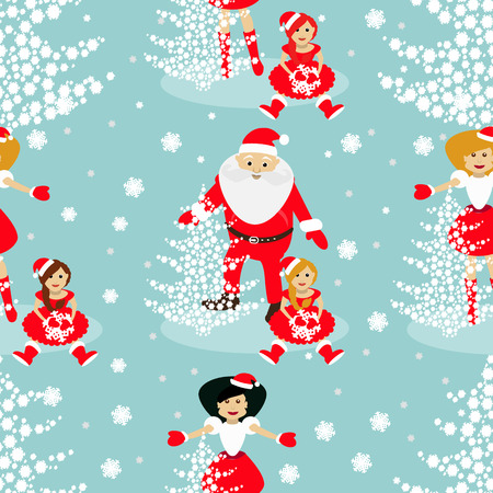 Christmas theme. tree from snowflakes on a blue background with Sata Claus and baby Elf and Mrs. Santa Claus arms