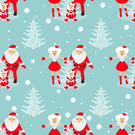 mrs  santa claus: Christmas theme. tree from snowflakes on a blue background with Sata Claus and baby and Mrs. Santa Claus blonde