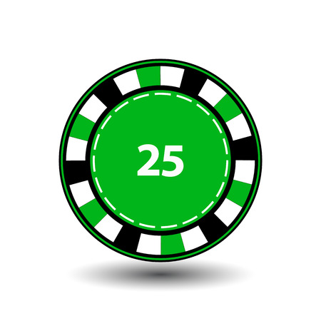 chips green 25 for poker an icon on the white isolated background.
