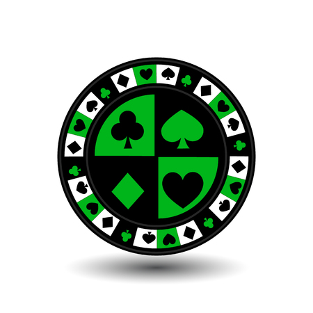 toke: chips for poker green a suit an icon on the white isolated background. Illustration