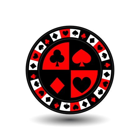 chips for poker red a suit an icon on the white isolated background.