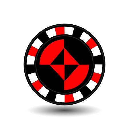 chips for poker red a suit diamond an icon on the white isolated background. Illustration
