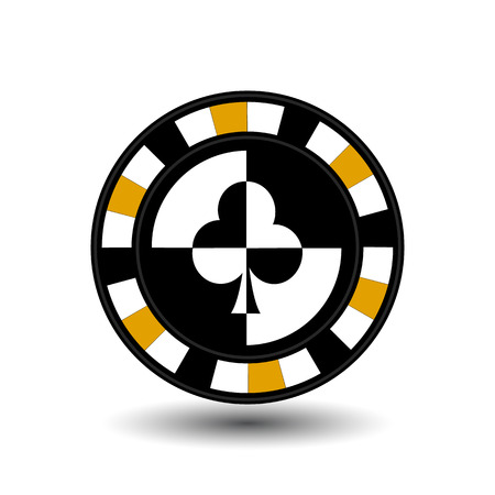 chips for poker yellow a suit club white black an icon on the white isolated background.