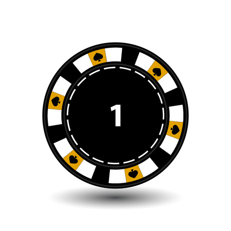 roulette layout: chips for poker yellow a suit spade and a white dotted line the line. Illustration