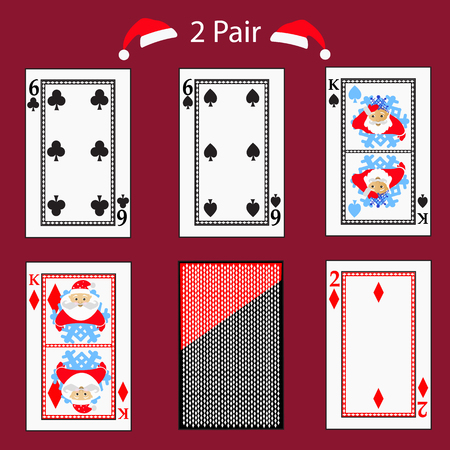 2 two pair playing card poker combination.