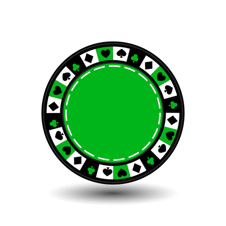 coordinated: chips green for poker an icon on the white isolated background. Illustration