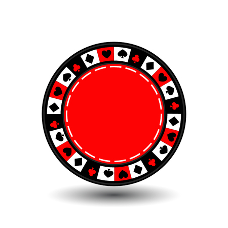 chips red for poker an icon on the white isolated background.