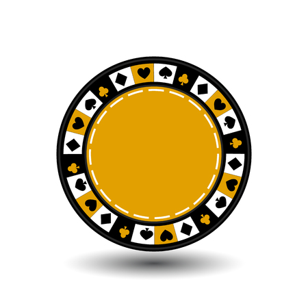 chips yellow for poker an icon on the white isolated background.