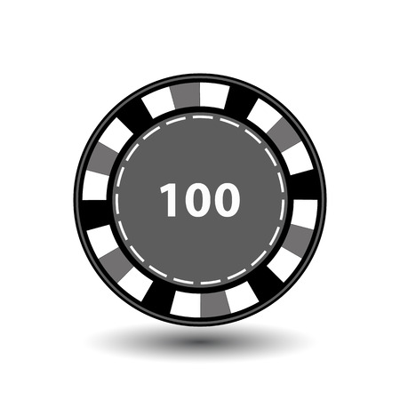 chips grey 100 for poker an icon on the white isolated background. Illustration