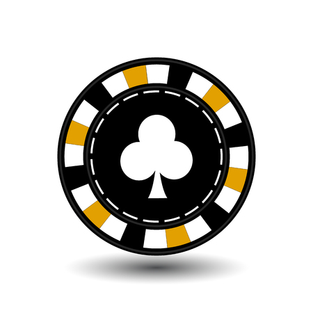 roulette layout: chips for poker yellow clab in the middle and a white dotted line the line.