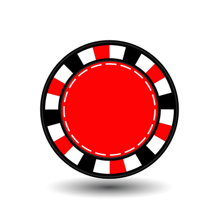 chips for poker red in the middle a round and white dotted line the line.