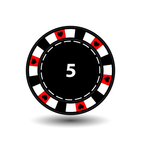 chips for poker red a suit heart and a white dotted line the line.