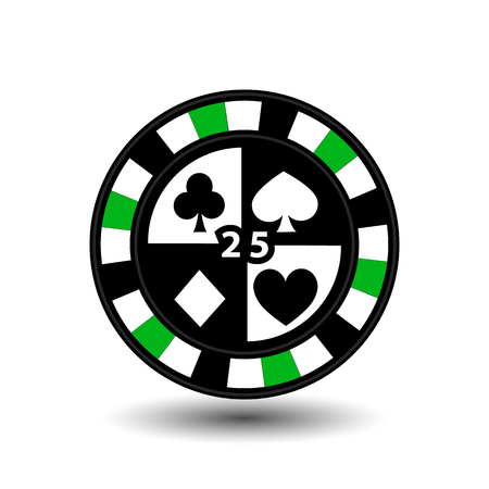 chips for poker green four suits and figure 25 and a white dotted line the line. Illustration