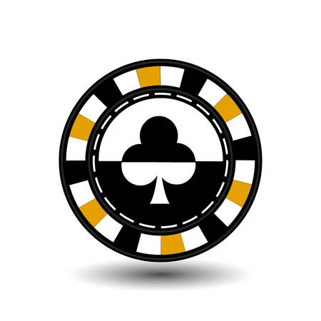 chips for poker yellow club in the middle and rectangles with a side. Illustration
