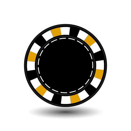 chips for poker yellow empty and a white dotted line the line. Illustration