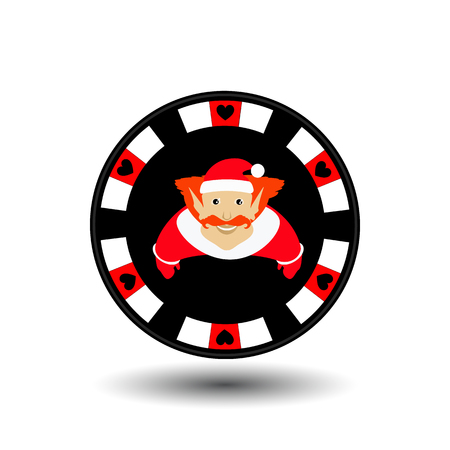 clubs diamonds: poker chip Christmas new year.
