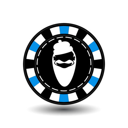 Poker chip Christmas. Blue.