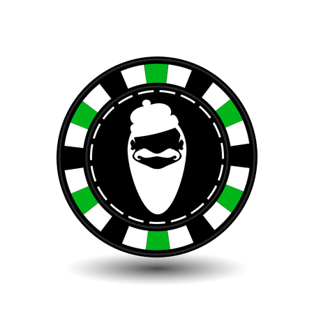 Poker chip Christmas. Green.