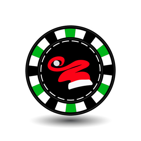 Poker chip Christmas. Green.