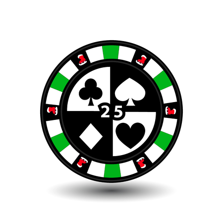 clubs diamonds: Christmas casino chips. Green.