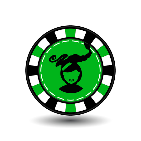Christmas casino chips. green. Illustration