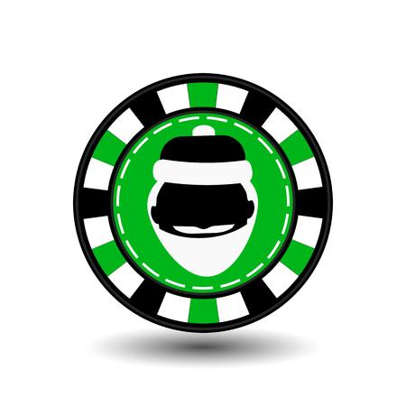 Christmas casino chips. green. Illustration