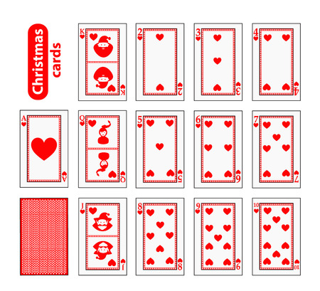 Cards Poker Set Christmas icons. color red heart. Illustration