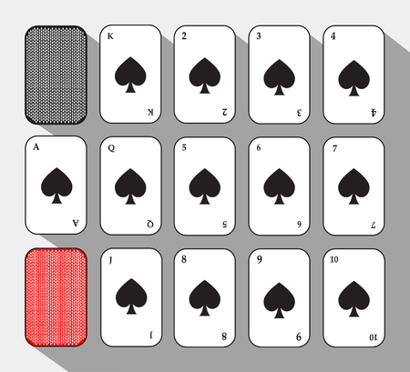 separable: poker card. Spade set. white background to be easily separable.
