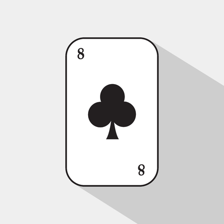 separable: poker card. Eight clubs. white background to be easily separable.
