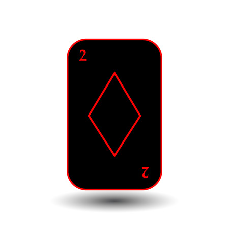 hand holding playing card: poker card. TWO BLACK DIAMOND. White easy to separate the background. Illustration
