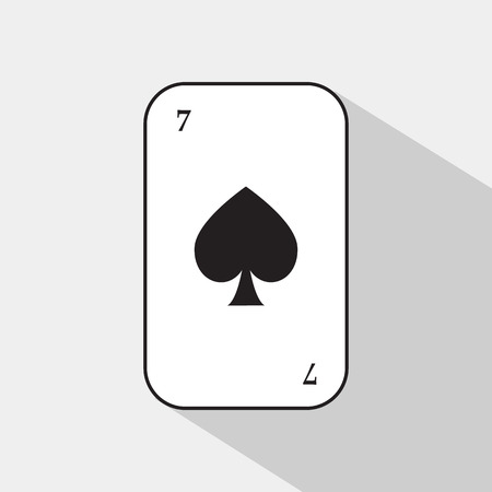poker card. spade seven. white background to be easily separable. icon illustration image used for print, website, fabrics, decorating, design, etc.