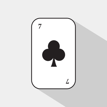poker card. SEVEN CLUB. white background to be easily separable.