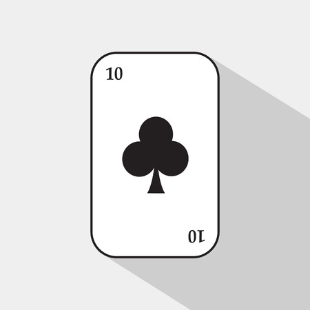 separable: poker card. TEN CLUB. white background to be easily separable.