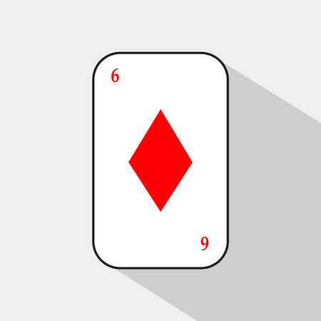 SIX Card DIAMOND a white background to be easily separable. icon illustration image used for print, website, fabrics, decorating, design, etc.