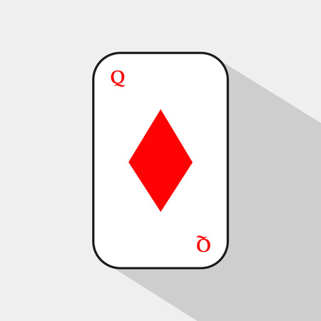 separable: poker card. DIAMOND QUEEN. white background to be easily separable. icon illustration image used for print, website, fabrics, decorating, design, etc.