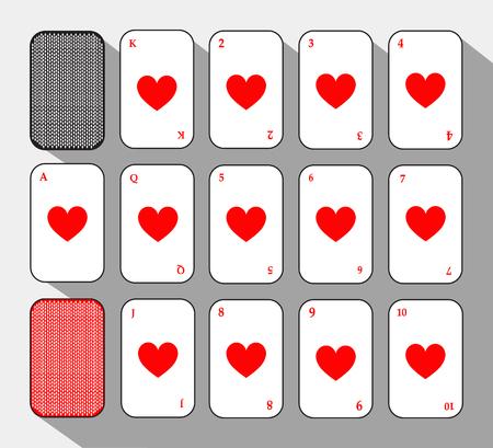 포커 카드. 심장을 놓아 라. 흰색 배경 쉽게 분리 할 수 있습니다. 인쇄, 웹 사이트, 직물, 장식, 디자인, 등등에 사용되는 아이콘 그림 이미지.