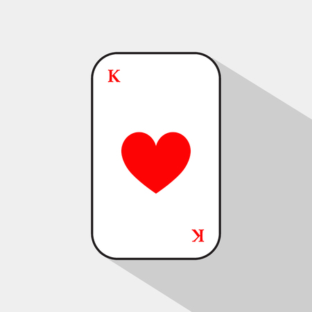 king of hearts: poker card. KING OF HEARTS. white background to be easily separable. icon illustration image used for print, website, fabrics, decorating, design, etc.